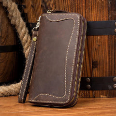 Cool Dark Brown Mens long Wallet Wristlet Wallet Clutch Wallet Yellow Brown Long Wallets for Men