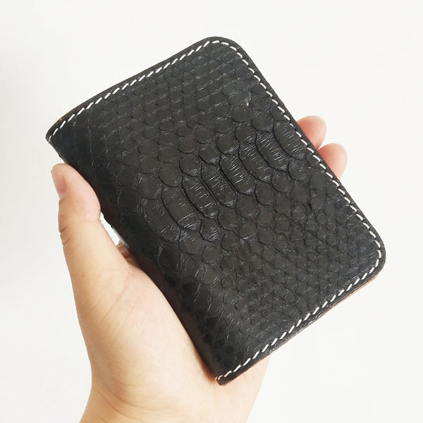 Handmade Cool Mens Snake Skin Small Wallet Slim Short Wallets Black Card Wallet For Men