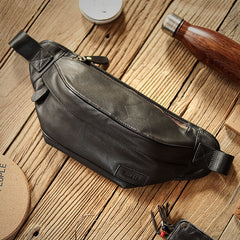 Black Cool Leather Mens Chest Bag Waist Bag Fanny Pack Hip Bag Bum Pack For Men