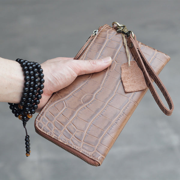 Vintage Dark Brown Leather Mens Phone Wallet Clutch Bag Wristlet Bag Zipper Long Wallet For Men
