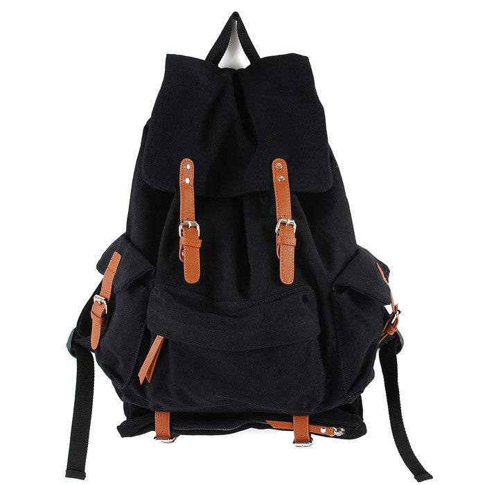 Black CANVAS Mens Casual Waterproof Computer Backpack Black Travel Backpack College Backpack Hiking Backpack For Men