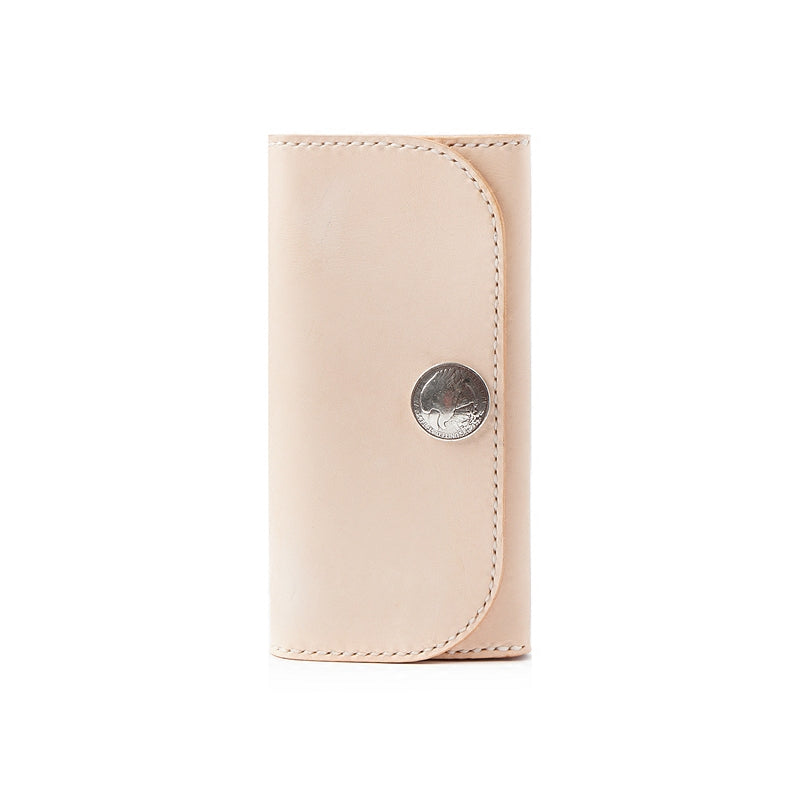 Beige Handmade Leather Mens Long Wallet Bifold Clutch Wallets Long CellPhone Wallet For Men