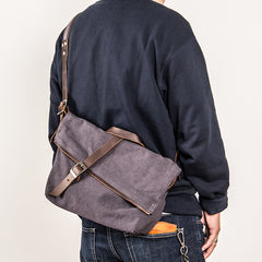Canvas Mens Womens Casual Beige 12'' Courier Bag Side Bag Messenger Bag for Men