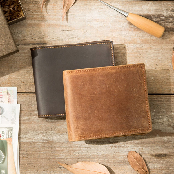 Coffee Cool Leather Mens Slim Small Wallet Bifold Vintage billfold Wallet for Men