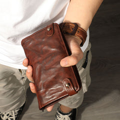 Retro Black Sheepskin Leather Men's Long Wallet Clutch Wallet Brown Phone Wallet Zipper Clutch Wallet For Men