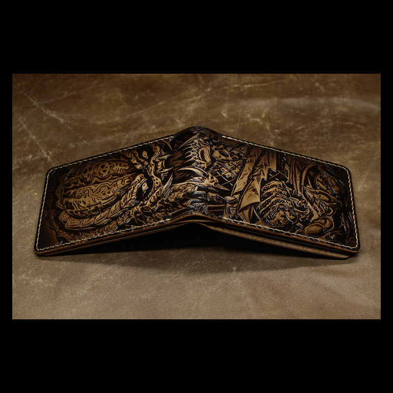 Handmade Leather Tooled Predator License Wallet Mens Card Short Wallet Cool Leather Wallet Slim Wallet for Men