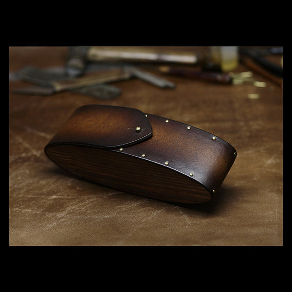 Handmade Mens Womens Tooled Wooden Leather Glasses Case Glasses Box Glasses Holder Eyeglass Case