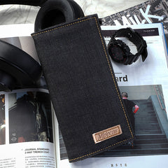 Cool Denim Mens Jean Long Wallet Bifold Slim Long Wallets For Men