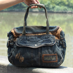 Blue Denim Mens Casual Messenger Bags Jean Fashion Side Bags Courier Bag For Men
