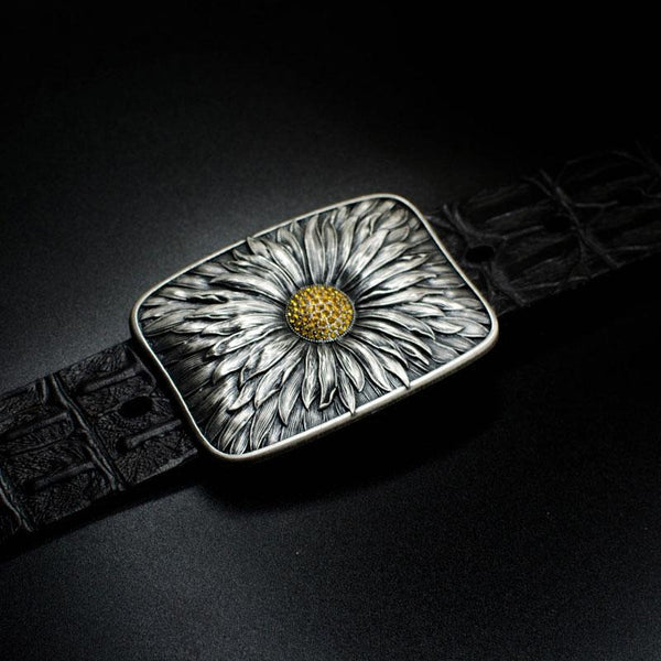 Handmade Genuine Leather Punk Rock Sunflower Mens Cool Men Biker Trucker Leather Belt