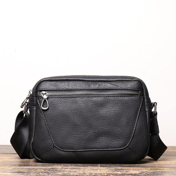 Black Cool Leather Small Zipper Messenger Bag Black Courier Bag Side Bag Black Shoulder Bag For Men