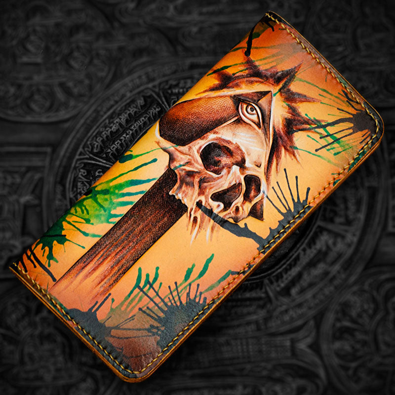 Handmade Leather Men Tooled Skull Cool Leather Wallet Long Phone Wallets for Men