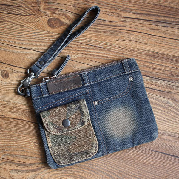 Cool Denim Blue Mens Envelope Bag Clutch Jean Wristlet Bag Hand Bag For Men