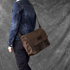 Canvas Leather Mens Large Brown Side Bag 14'' Khaki Messenger Bag Brown Postman Bag For Men