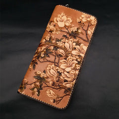 Handmade White Flowers Magnolia denudata Tooled Leather Womens Long Wallet Zipper Clutch For Women