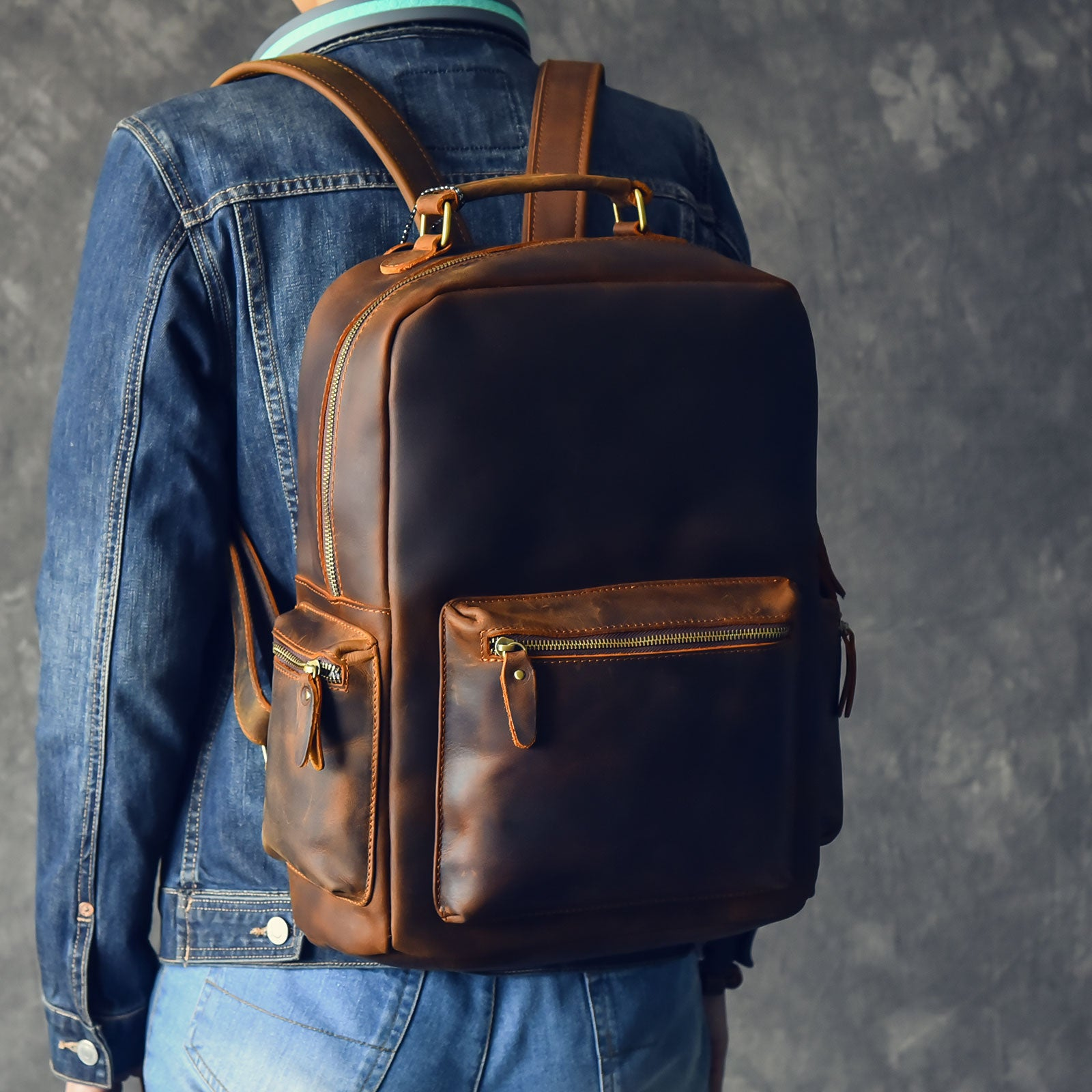 "Vintage Brown Leather Mens 15"" Laptop Backpack Hiking Backpack Travel Backpack College School Bag for Men"