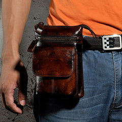 393510708f26 ... Mens Leather Small Side Bag Waist Pouch Holster COURIER BAG Belt Case  Belt Pouch for Men ...