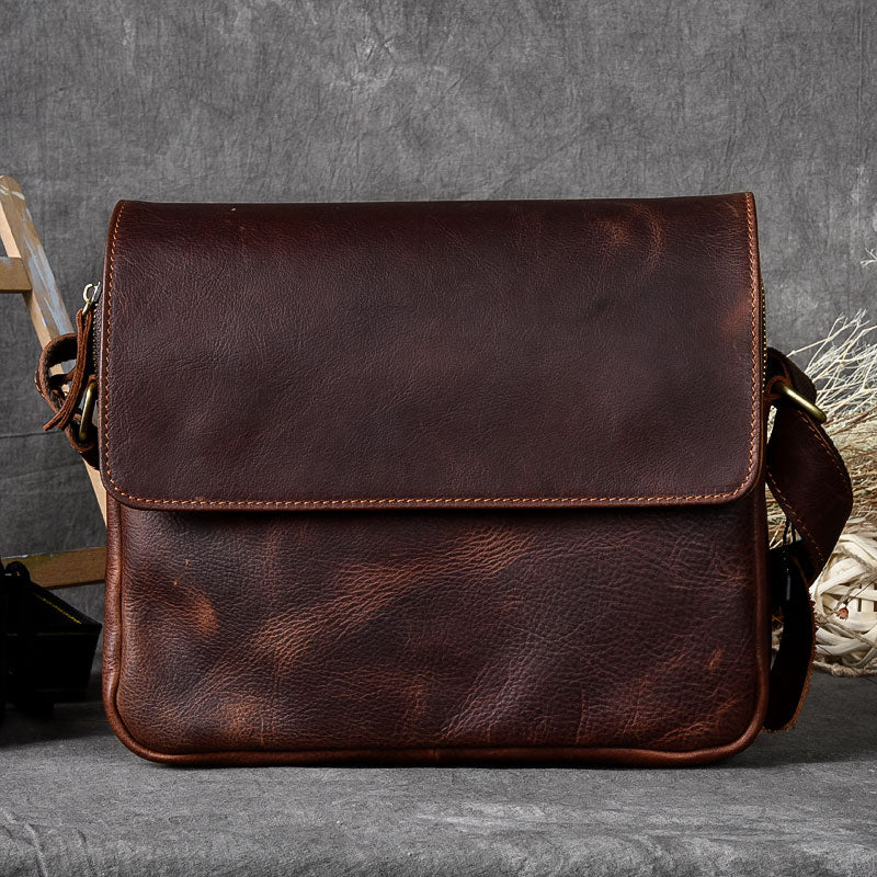 Cool Leather Mens 8'' Red Brown Small Side Bag Small Messenger Bag Shoulder Bag For Men