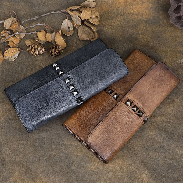 Cool Brown Leather Mens Long Wallet Clutch Wallet Gray Wristlet Clutch Bag for Men