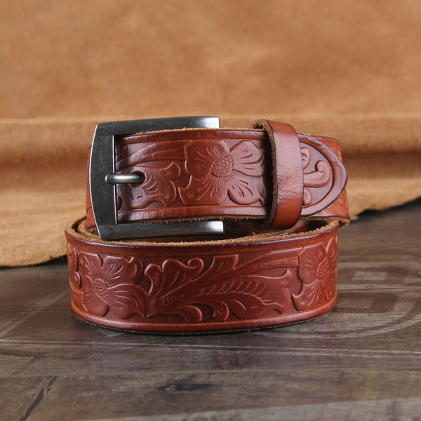 Genuine Leather Punk Rock Biker Trucker Tooled Floral Mens Belt Men Black Coffee Belt for Men
