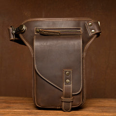 Cool Dark Brown Leather Small Side Bag Waist Bag Messenger Bags Fanny Pack for Men