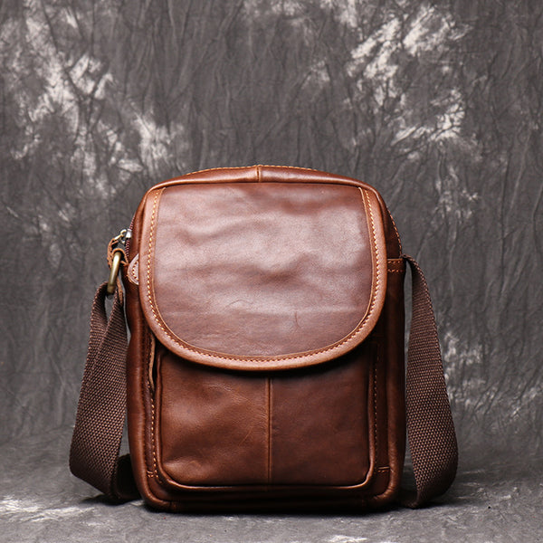 Brown LEATHER MENS Small SHOULDER BAG Vertical SIDE BAG Casual COURIER BAG Ipad MESSENGER BAG FOR MEN