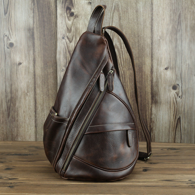 Brown Leather Men's Sling Bag Chest Bag Vintage One shoulder Backpack For Men