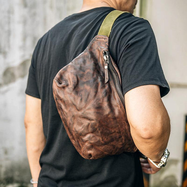 Cool Black Leather Men Chest Bag Waist Bags Coffee Fanny Pack Hip Bag One Shoulder Backpack For Men