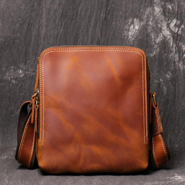 Cool Brown LEATHER MENS Ipad Vertical SIDE BAG COURIER BAG Vertical MESSENGER BAG FOR MEN