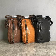 Cool BROWN LEATHER MEN'S Vertical Small Side Bags MESSENGER BAG BLACK Black Courier Bags FOR MEN