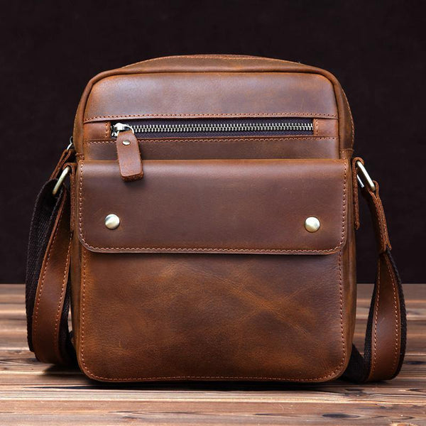 Vintage Brown Leather Messenger Bag Men's Vertical Side Bag Small Vertical Courier Bag For Men
