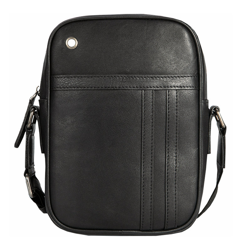 Black LEATHER MENS VERTICAL MINI SIDE BAG SMALL MESSENGER BAGS Black COURIER BAG FOR MEN