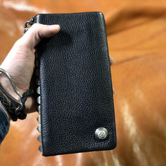 Genuine Leather Mens Cool Biker Chain Wallet Long Leather Wallet Clutch Wristlet Wallet for Men