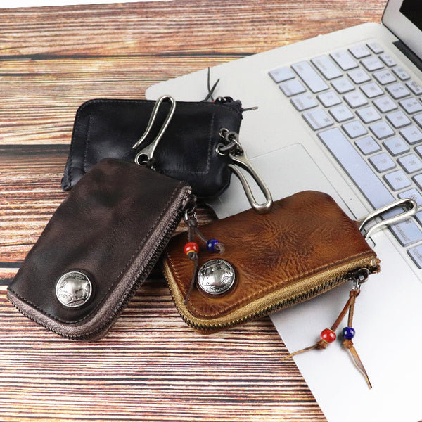 Vintage Mens Leather Key Wallet Zipper Key Holder Coin Wallet Change Pouch For Men