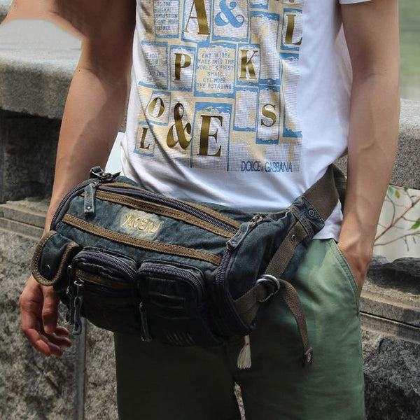 Blue Denim Mens Casual Waist Bag Fanny Packs Blue Jean Hip Bag Bum Bags For Men