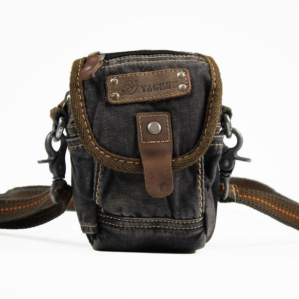 Canvas Black Mens Mini Side Small Messenger Bag Belt Bag Canvas Belt Pouch Waist Bag For Men