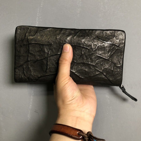 CASUAL BLACK LEATHER MEN'S Long Wallet Zipper Clutch Wallet BLACK Wristlet Wallets Card Wallet FOR MEN