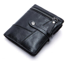 Cool Leather Mens Small Wallet billfold Brown Bifold Wallet Black Multi-card Front Pocket Wallet for Men