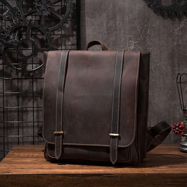 Vintage Mens Leather School Backpacks Laptop Backpack Travel Leather Backpack for Men