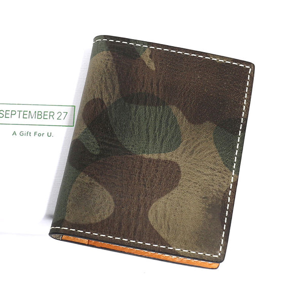 Cool Leather Mens Camouflage License Wallets Front Pocket Wallet Slim Card Wallet for Men