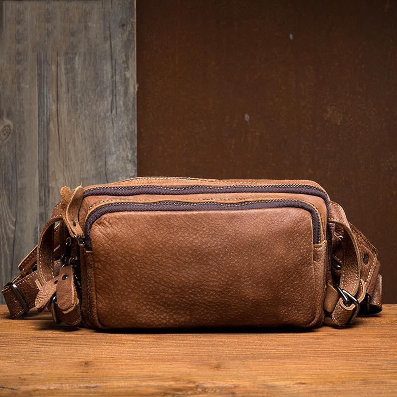 Khaki Leather Mens Fanny Pack Brown Waist Bag Hip Pack Belt Bags Bumbag for Men