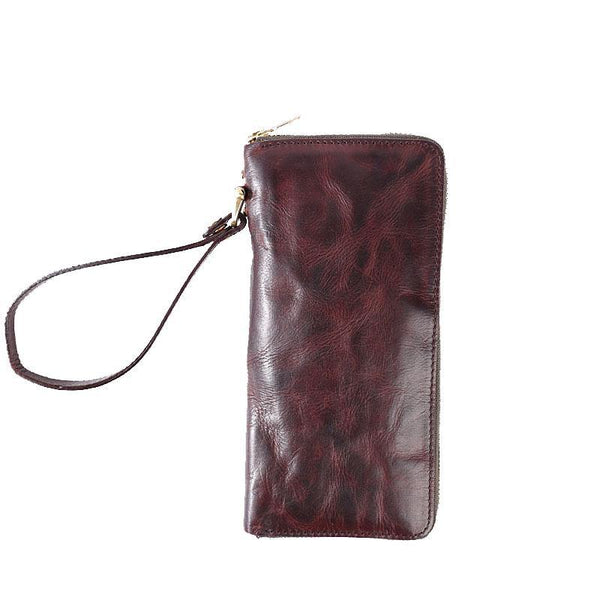 Cool Leather Mens Clutch Simple Brown Wallet Zipper Clutch Wristlet Phone Purse for Men