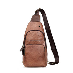 Brown Cool LEATHER MENS 8 inches Sling Bag Yellow One Shoulder Backpack Gray Chest Bag For Men