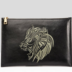 Handmade Leather Mens Clutch Cool Slim Lion Wallet Zipper Clutch Wristlet Wallet for Men