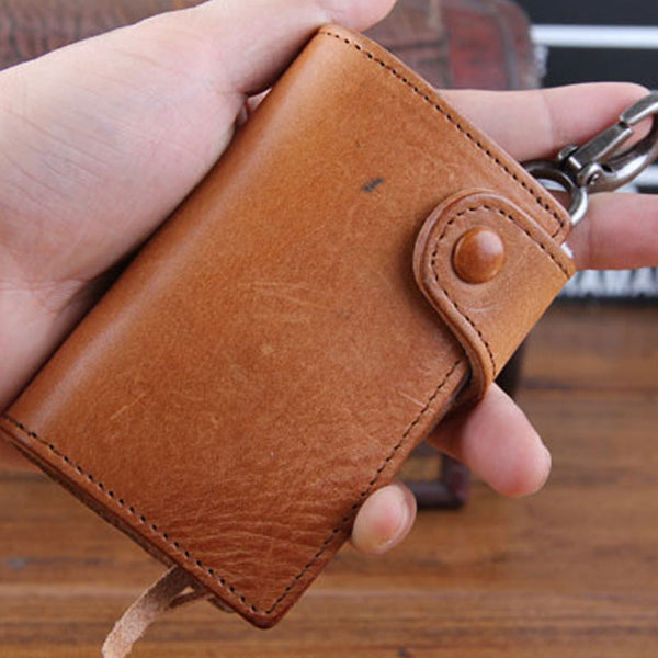 Genuine Leather Mens Cool Key Wallet Car Key Change Coin Card Holder Car Key Case for Men