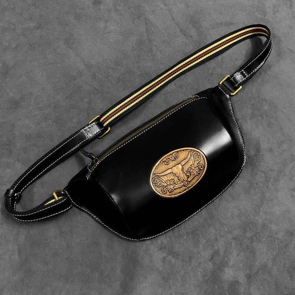 Fashion Black Genuine Leather Biker Fanny Pack Biker Waist Bag Motorcycle Hip Bag For Men