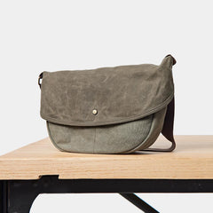Canvas Mens Small Side Bags Green Canvas Saddle Messenger Bags Canvas Courier Bag for Men