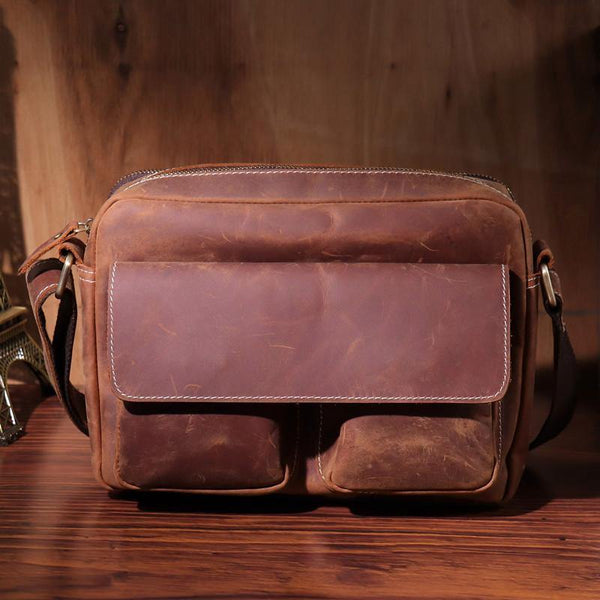 Vintage LEATHER MENS COURIER BAG Postman BAG SIDE BAG 10 inches MESSENGER BAG FOR MEN