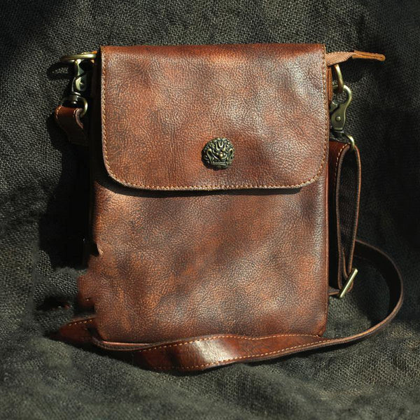 Cool Brown Leather Mens Vertical Side Bag Small Messenger Bag Courier Bag For Men