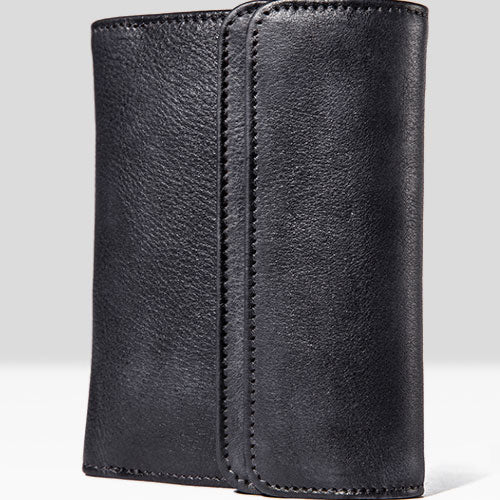 Handmade Mens Cool Short Leather Wallet Men Small Slim Wallets Trifold for Men